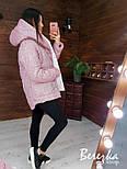 Короткая блестящая куртка хамелеон из люрекса с капюшоном  vN6766, фото 2