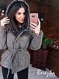 Короткая блестящая куртка хамелеон из люрекса с капюшоном  vN6766, фото 4