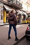 Короткая весенняя куртка из плащевки на весну с тканевым поясом vN6773, фото 6