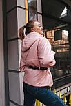 Короткая весенняя куртка из плащевки на весну с тканевым поясом vN6773, фото 7