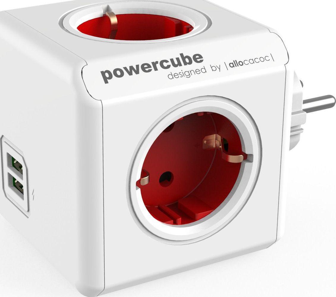 Сетевой фильтр Allocacoc PowerCube Original USB, RED (1202RD / DEOUPC)