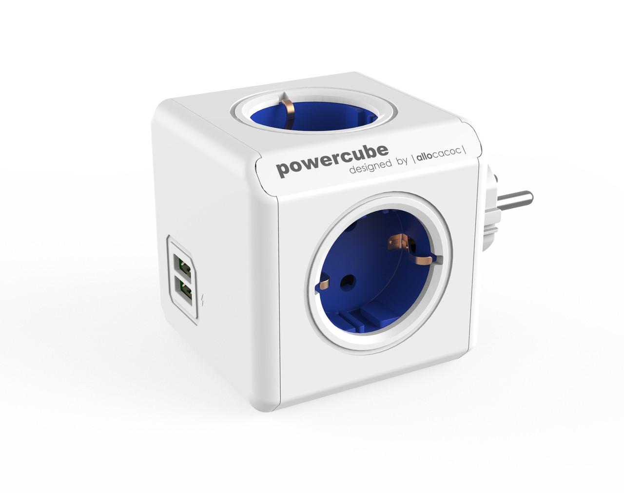 Мережевий фільтр Allocacoc PowerCube Original USB, BLUE (1202BL / DEOUPC)