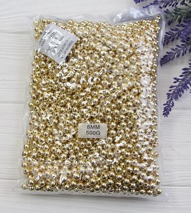 """Бусины   """" Гальваника  8 мм """"  , золото         500 грамм"""