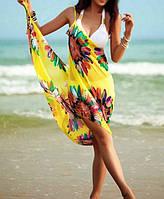 Желтое парео на пляж с лямками 024