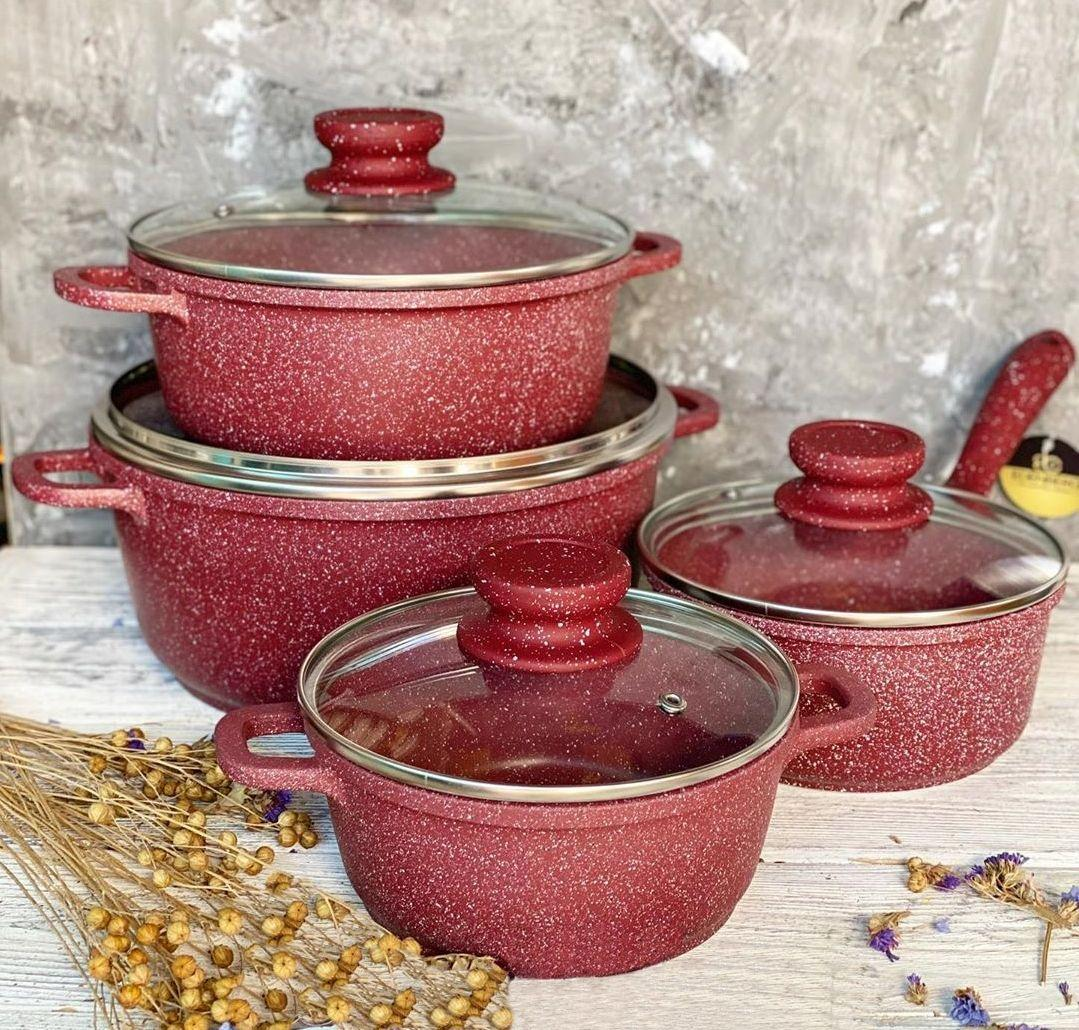 Набор посуды из 8 предметов с мраморным покрытием Edenberg (EB-9183)