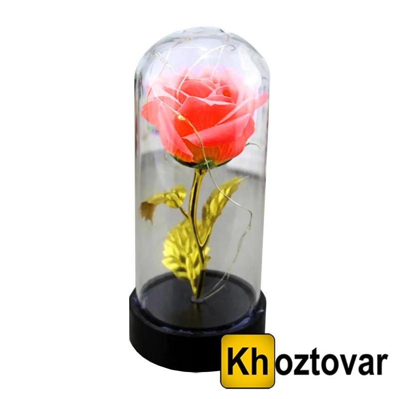 Светящаяся золотая роза в колбе   Маленькая