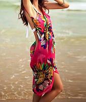 Розовое парео на пляж с лямками 025