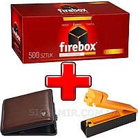 Набор 3 в 1 Сигаретные ГильзыFireBox 500 штук, Машинка Для Набивки Сигарет,Портсигар на 20 сигарет, фото 1