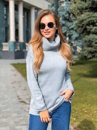 """Женский стильный вязаный свитер 7745 """"Вязка Хомут"""" в расцветках"""