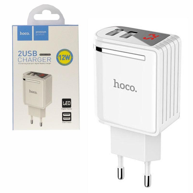 Мережевий зарядний пристрій HOCO C39A Enchanting LED 2 * USB 2.4 A White
