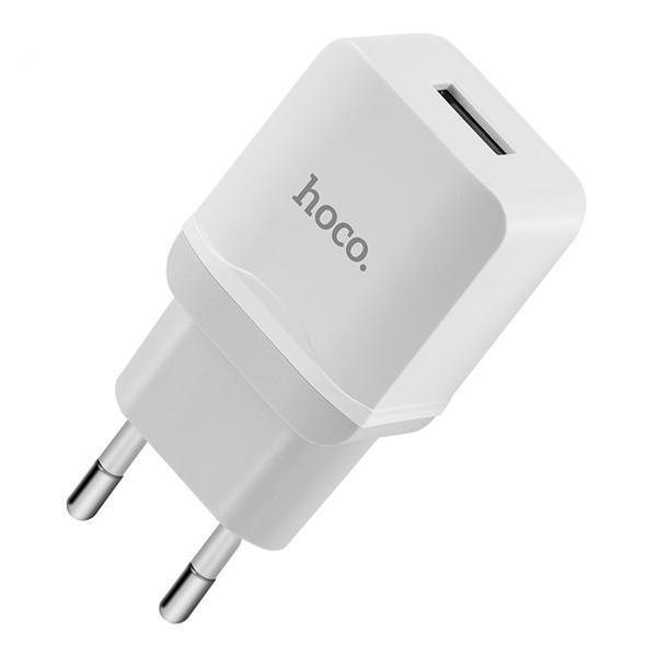 Мережевий зарядний пристрій HOCO C22A 1USB 2.4 A (EU) White