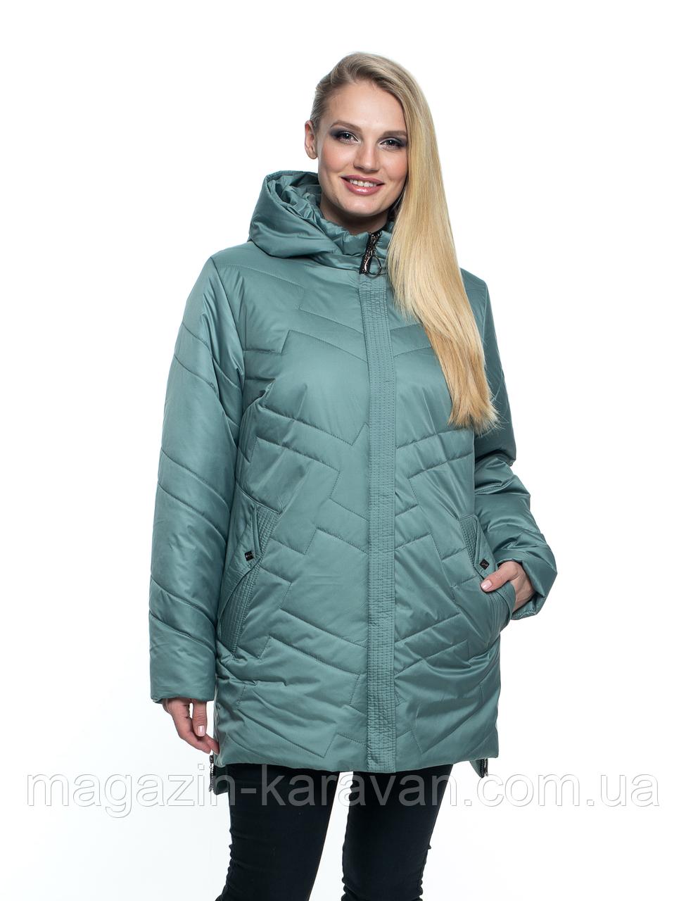 Женская куртка демисезонная большого размера, цвет мята (54-70)