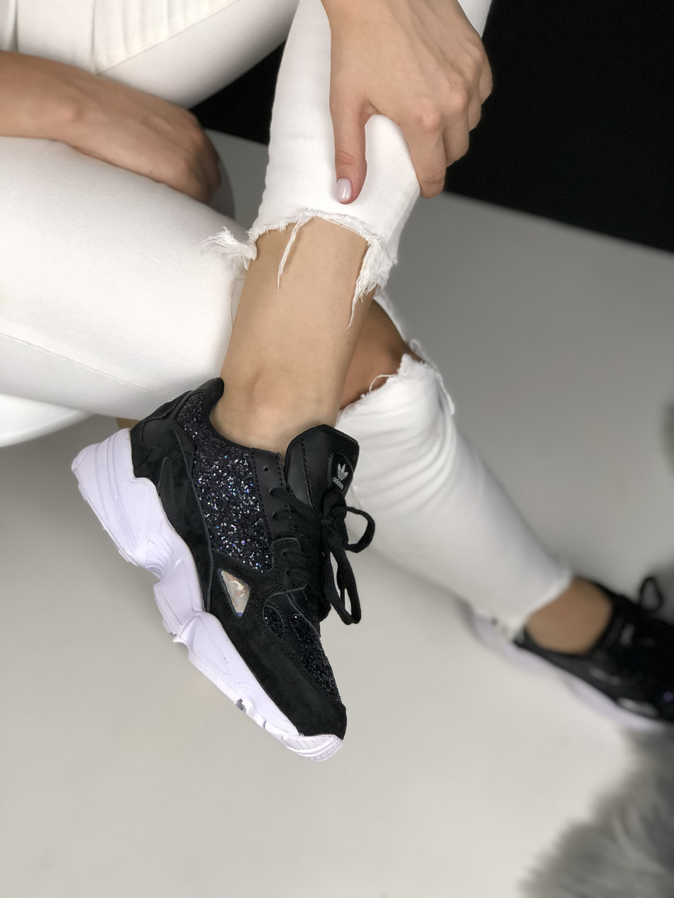 Кроссовки Adidas Falcon Black White Diamond 3