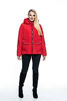 Стильная красная куртка с капюшоном КР103 (44-56), фото 1
