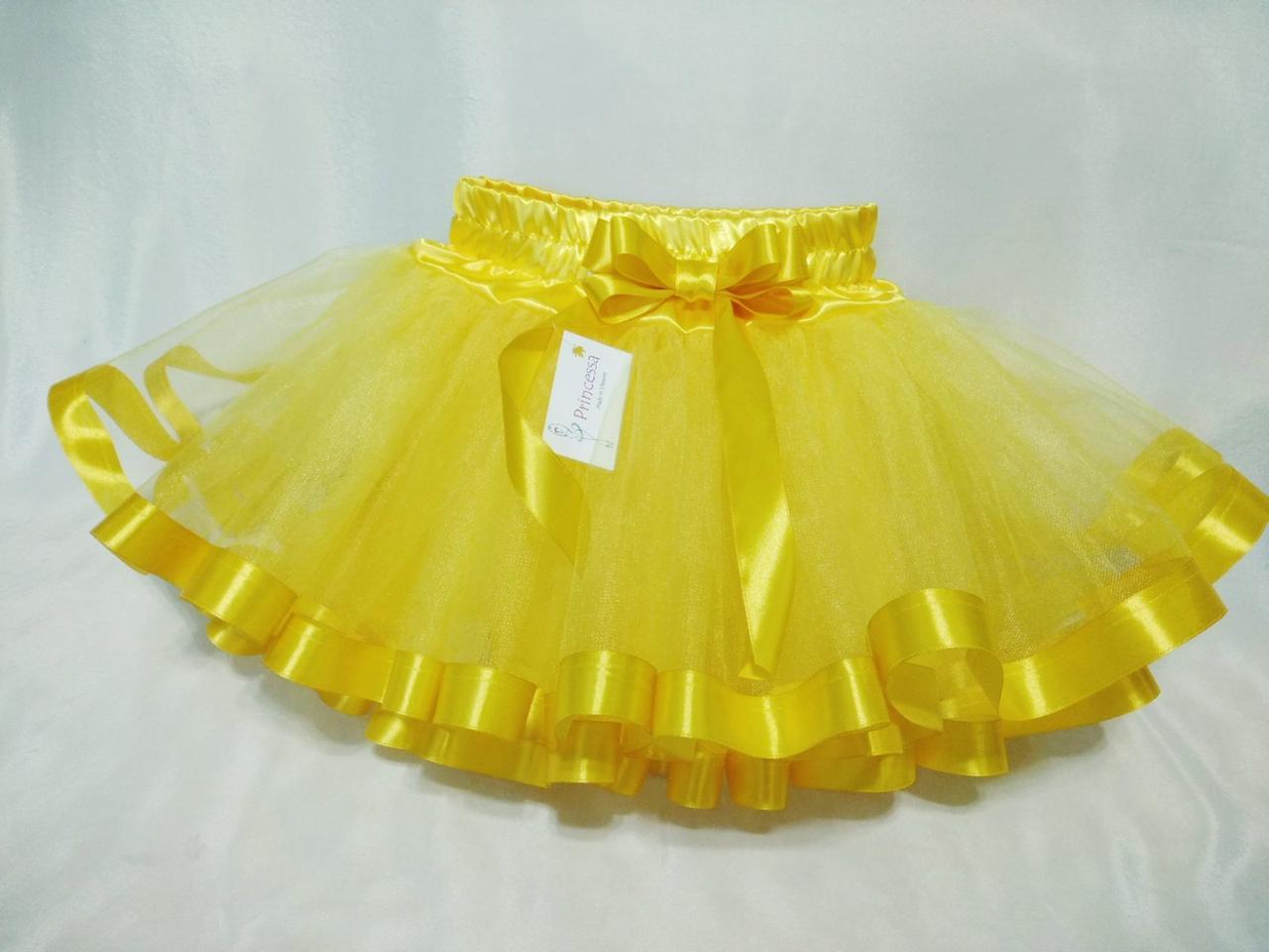 """Юбка детская """"Дуэт"""" жёлтая  фатиновая пышная с атласной лентой и бантом. Пошив в любом размере"""