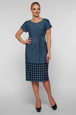 Платье в голубую клетку летнее для полных девушек Белла, фото 2