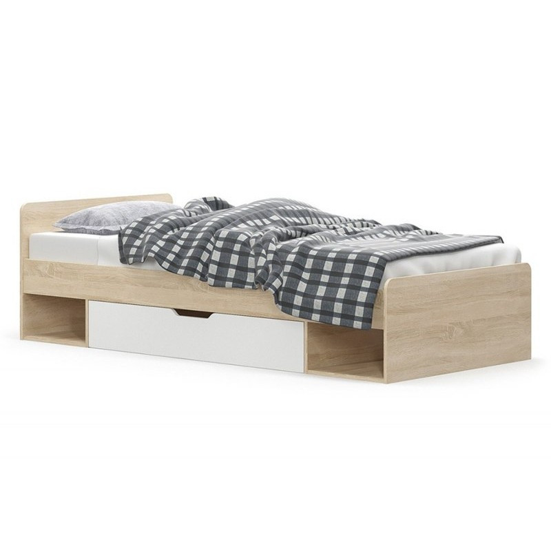 Кровать Типс 90 (каркас без ламелей) дуб самоа/белый