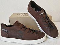 Diesel стиль! Мужские коричневые кожаные кеды туфли кроссовки, фото 1