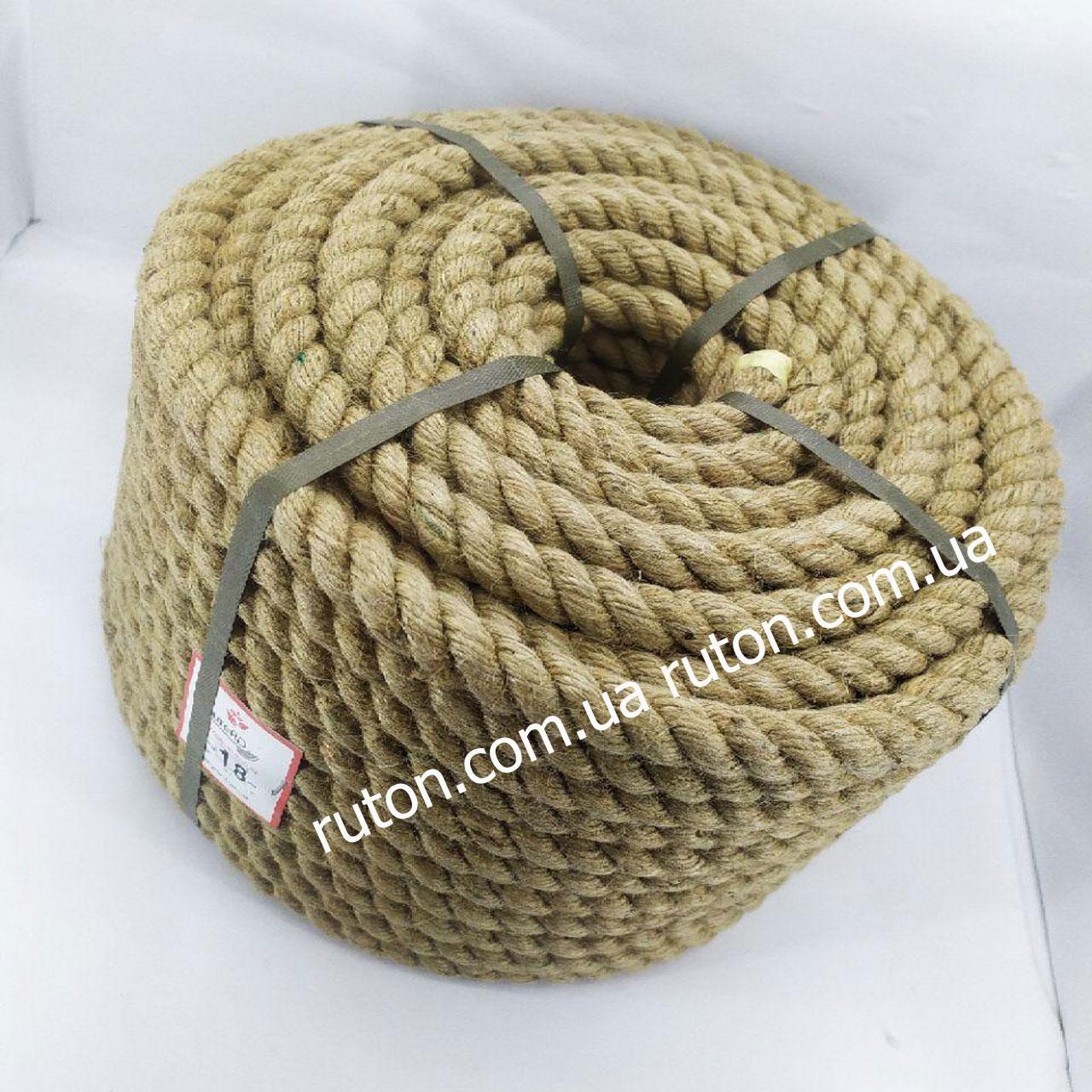 Веревка джутовая витая декоративная 18 мм 50 м
