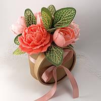 Букет из мыльных цветов Пионов Цветочная композиция из мыла ручной работы крафт кашпо Мыльный букет