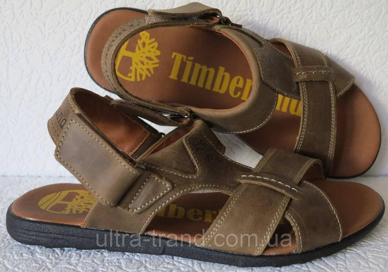 Мужские босоножки Timberland коричневые кожаные сандали сандалии обувь лето
