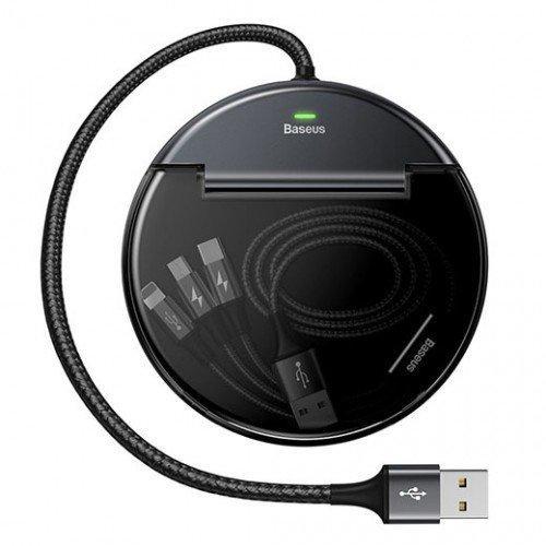 Автомобильное зарядное устройство Baseus Кабель 3 в 1 (L,M,T) Черный CAHUB-FX01