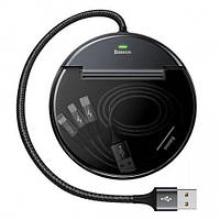 Автомобильное зарядное устройство Baseus Кабель 3 в 1 (L,M,T) Черный CAHUB-FX01, фото 1