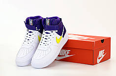 Мужские кроссовки Nike Air Force Hi. White Blue Yellow. ТОП Реплика ААА класса.