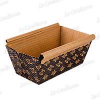 Форма для выпечки прямоугольная коричневая с бронзовыми цветами, 100×50×50 мм