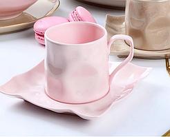 Чашка с блюдцем Розовая пудра 250 мл 264-686