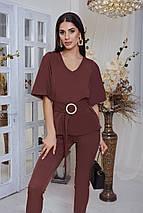 """Женский брючный костюм """"Барбара"""" с блузой и поясом (4 цвета), фото 2"""
