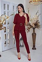 """Женский брючный костюм """"Барбара"""" с блузой и поясом (4 цвета), фото 3"""