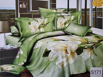 Сатиновое постельное белье евро 3D ELWAY S171