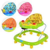 Ходунки детские BAMBI, JS 301, 6 цвета, дуга с подвесками, игровая панель муз, свет