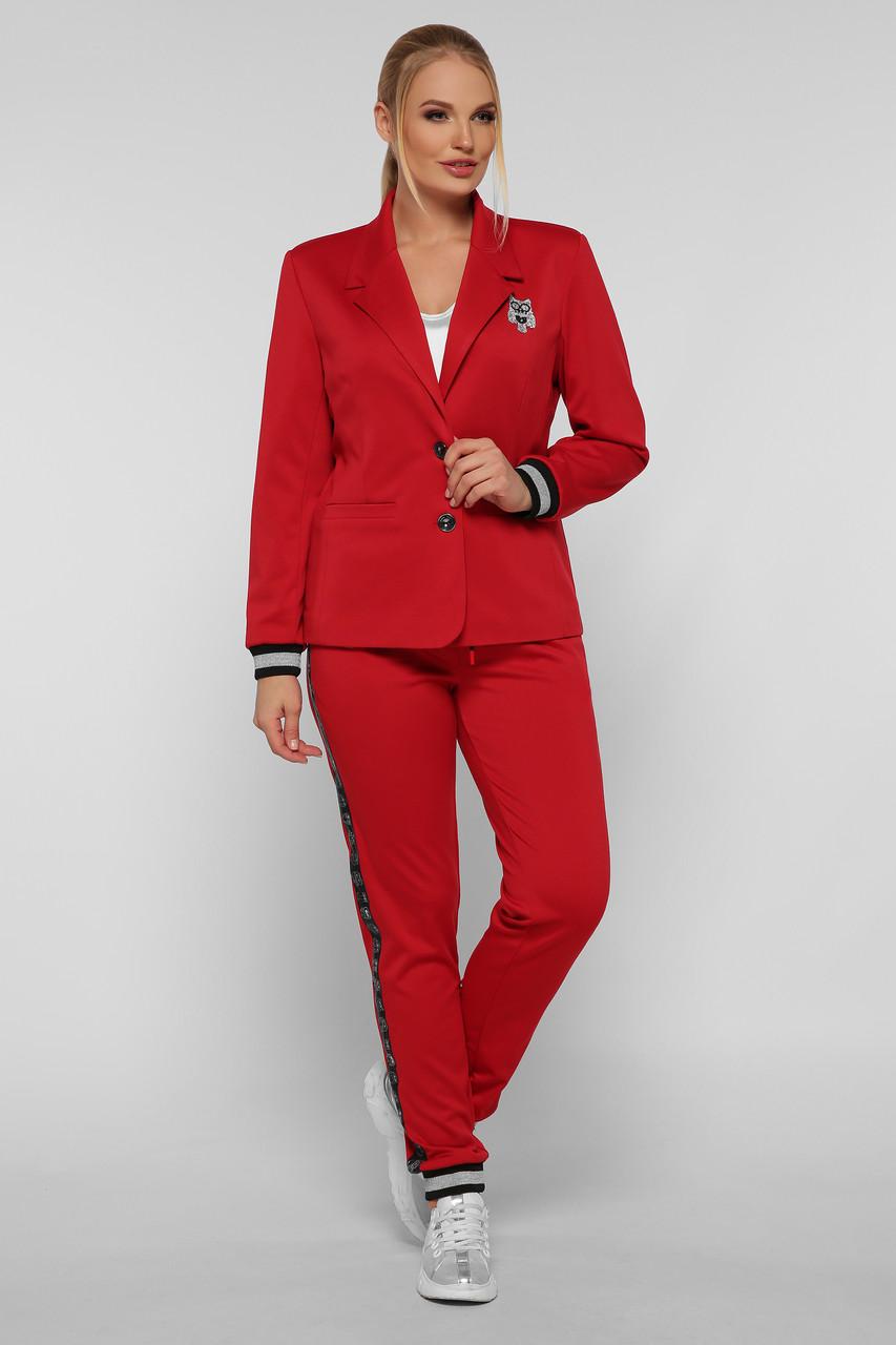 Брючный костюм красный для полных девушек Сова