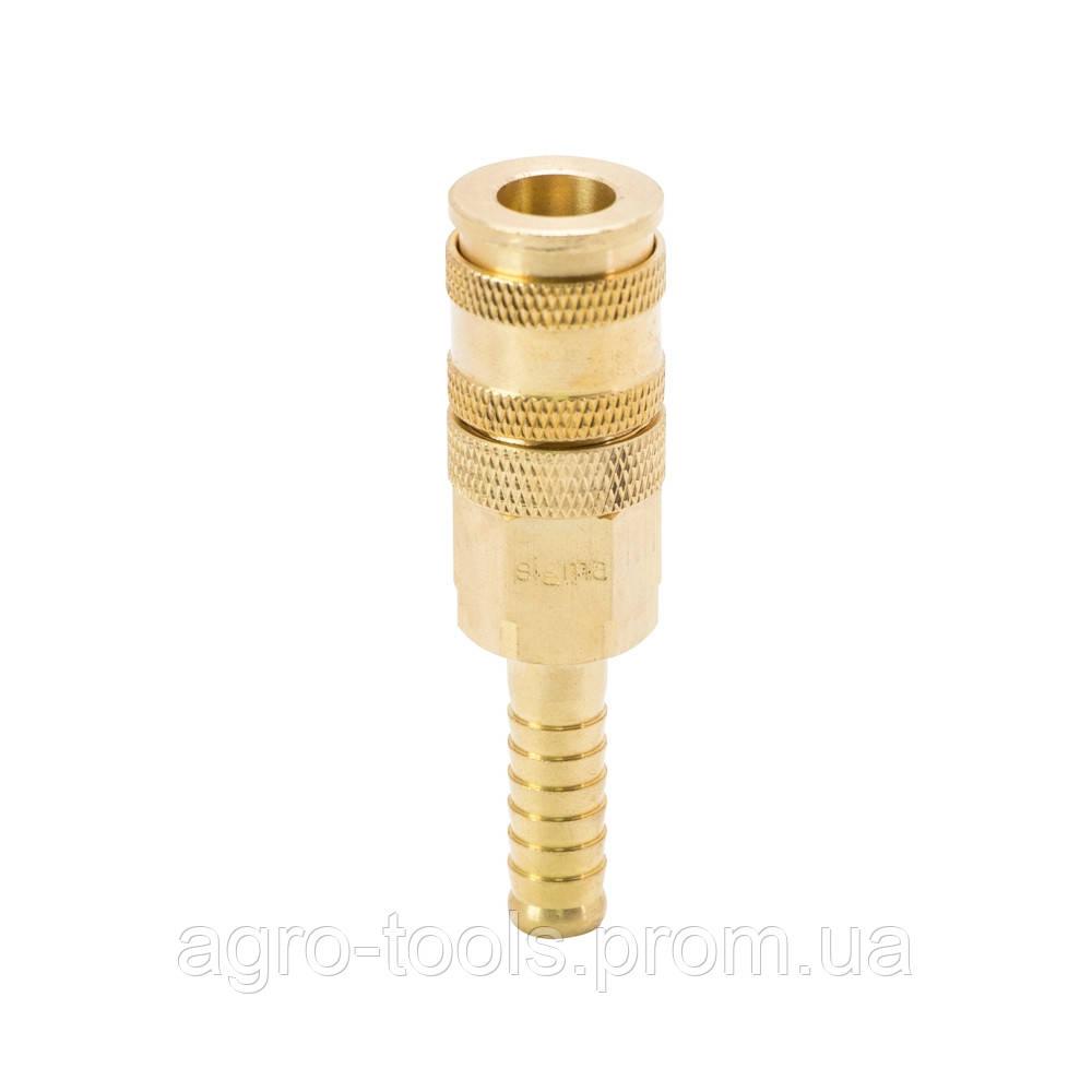 Соединение быстросъемное усиленное с фиксатором для шланга 10мм (латунь) SIGMA (7021691)