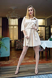 Сукня з еко - шкіри 1223.2 колір бежевий
