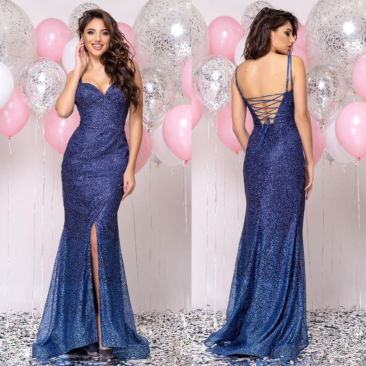 """Шикарное платье годе со шлейфом вечернее синее """"Адриана"""""""