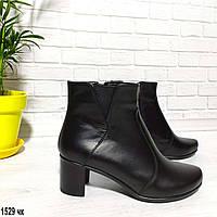 Женские кожаные ботинки на небольшом каблуке, фото 1