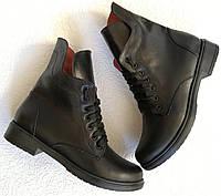Pepe! Женские черные кожаные полу ботинки на низком ходу со змейкой и шнуровкой очень удобные