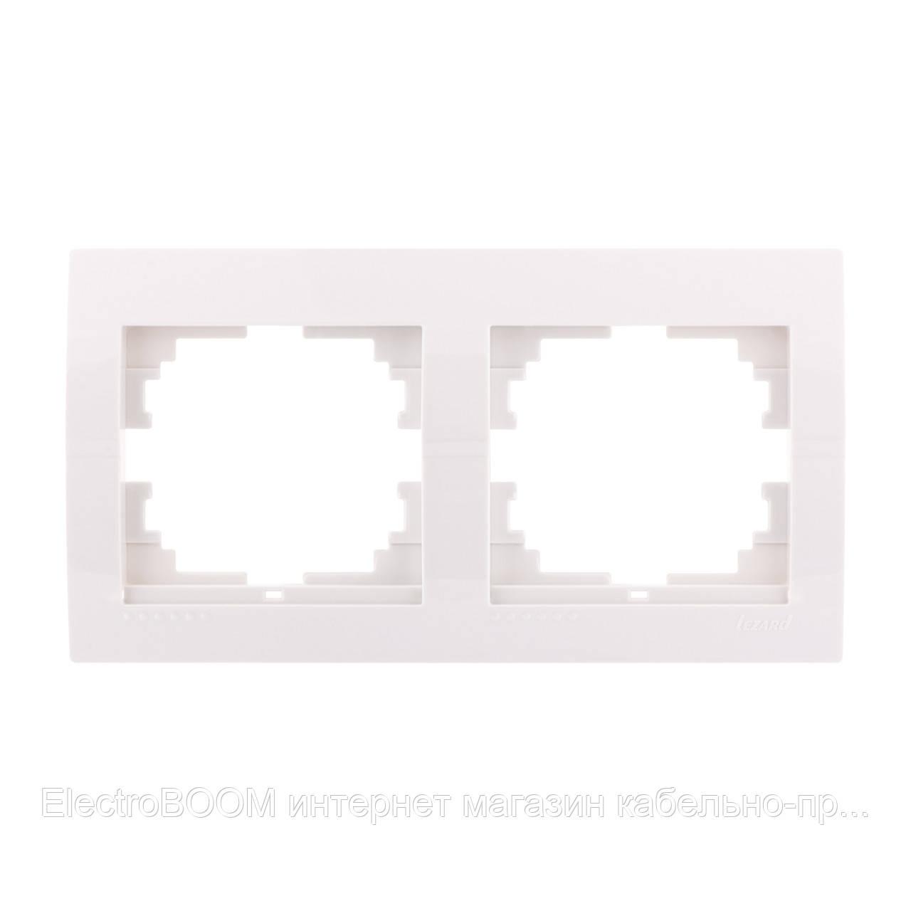 Рамка 2-поста горизонтальная белая Deriy Lezard