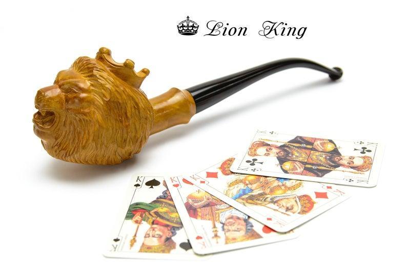 Резная трубка Король Лев с длинным мундштуком под фильтр 9 мм ручная работа из дерева груши
