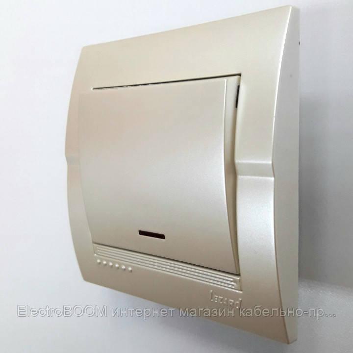 Выключатель 1-клавишный жемчужно-белый металлик с подсветкой Deriy Lezard