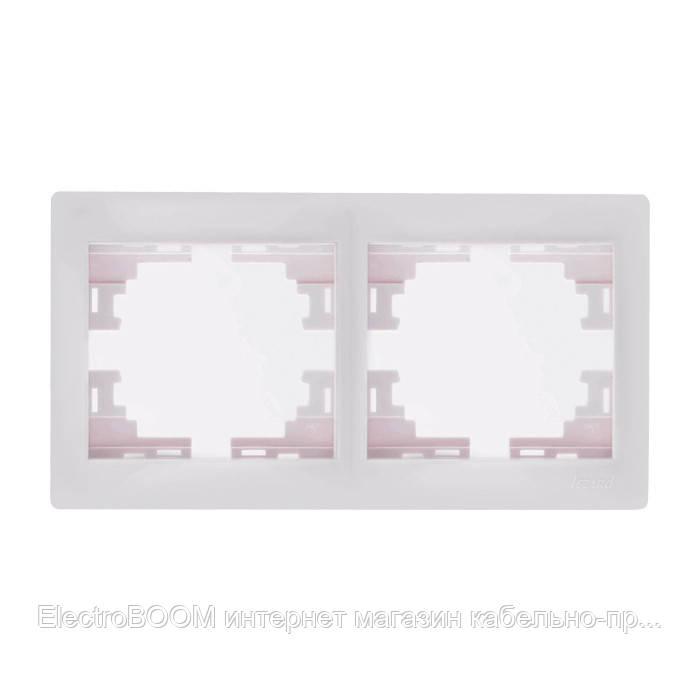 Рамка двойная горизонтальная белая Mira Lezard