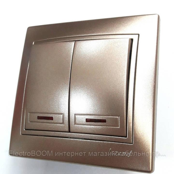 Выключатель 2-клавишный с подсветкой светло-коричневый металлик Lezard Mira
