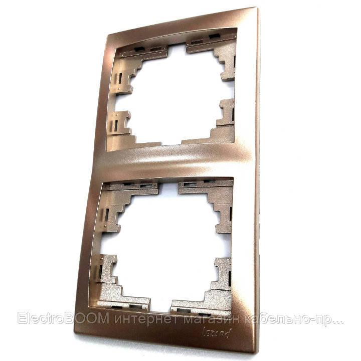 Рамка двойная вертикальная светло-коричневый металлик Mira Lezard