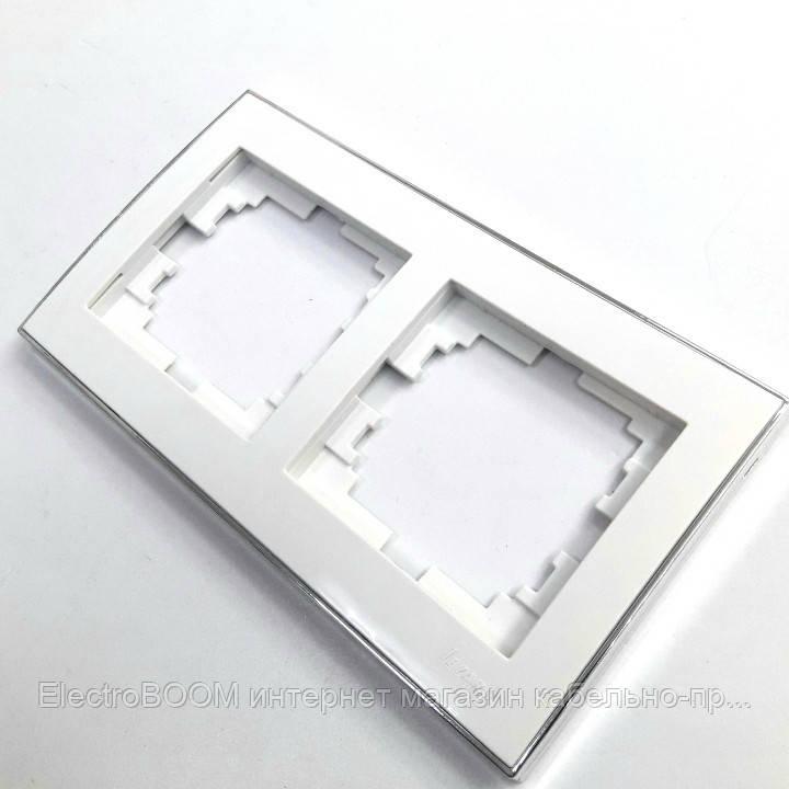 Рамка двойная горизонтальная белая/хром RAIN Lezard