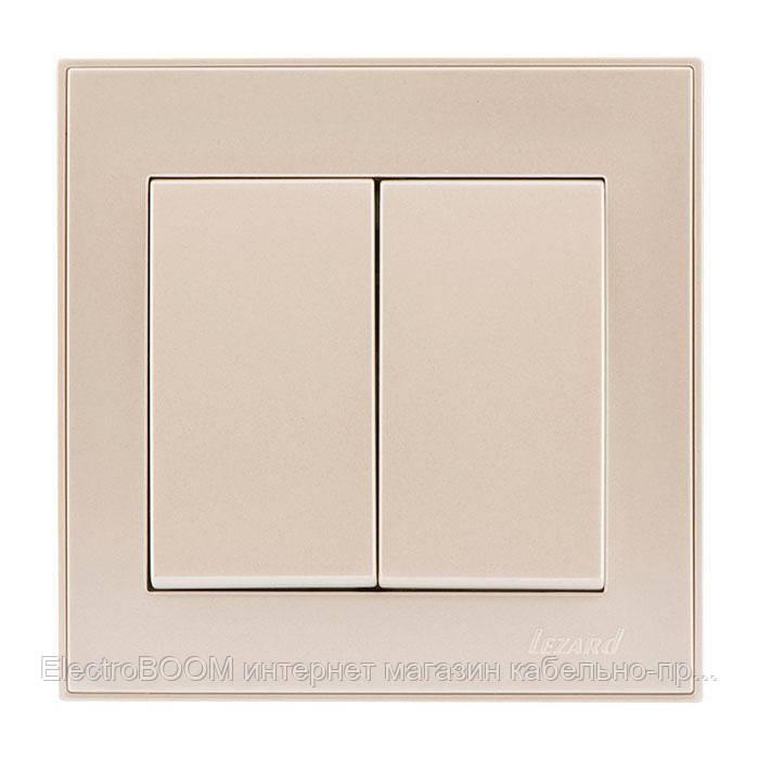 Выключатель двухклавишный жемчужно-белый металлик (перламутр) RAIN Lezard
