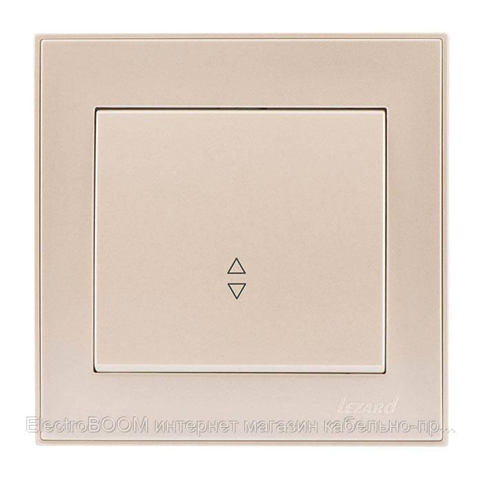 Выключатель проходной одноклавишный жемчужно-белый металлик (перламутр) RAIN Lezard