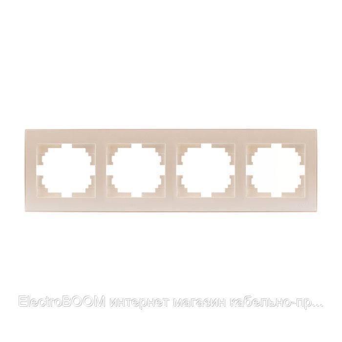 Рамка четверная горизонтальная жемчужно-белый металлик (перламутр) RAIN Lezard